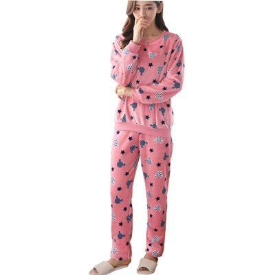 Spring Summer Autumn Autumn Winter Thick Flannel Pajamas Long-Sleeved Pullover and Pant Suit