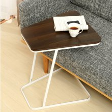 C Shape Small Side Computer Tray Table for Living Room / Bedroom Toughened Wood Top