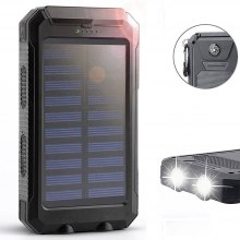 Solar Charger Power Bank 10000mAh External Backup Battery Pack Dual USB Solar Panel Charger with 2LED Light