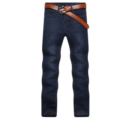Men's Jeans Straight Solid Color Casual Breathable Denim Pants
