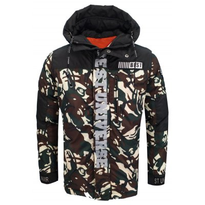 Men'S Winter Clothing Fashion and Leisure Hooded Youth Camouflage Cotton Coat