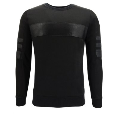 Autumn Men'S Round Collar Splicing Trendy Casual Fashion Slim Long-Sleeved Sweatshirt
