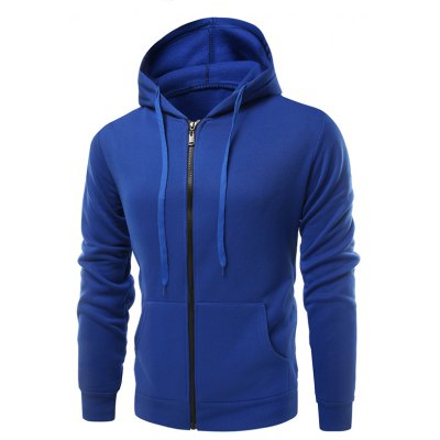 Fashion Solid Color Wild Men Coat Hoodie