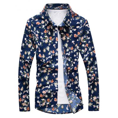 Casual Floral Men'S Long-Sleeved Shirt