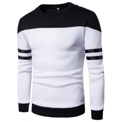 Men'S New products gadgets Casual Pullover Fashion Spell Color Sweatershirt