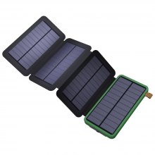 8000mAh Solar Power Bank with Foldable Panel Portable Rugged Shockproof Dual USB Battery Charger