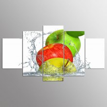 YSDAFEN 5 Pieces Apples Splashing Water Group Canvas Paintings Wall Art Pictures