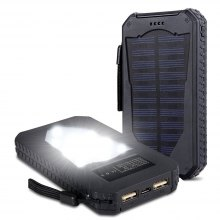 Foreverrise Solar Charger 10000mAh High Capacity Solar Panel Power Bank Portable Battery Pack Bright LED Light Dual USB