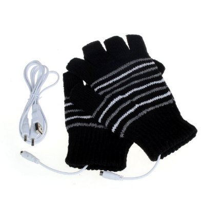 USB Heated Fingerless Glove with Dismountable Heating Plate