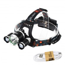 HKV T6 6000 - 6500K LED Headlight USB Rechargeable Head Light 4 Modes Fishing Lamp