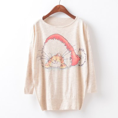 New Fashion Autumn Winter Women Girls Crewneck Batwing Sleeve Knitted Graphic Digital Printing Sweater Jumper Warm Kintwear Loose Casual Tops Pullovers ZT-G644 Christmas cat Printing