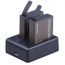 Dual-slot Charging Dock with Two 1050mAh Batteries for Action Camera