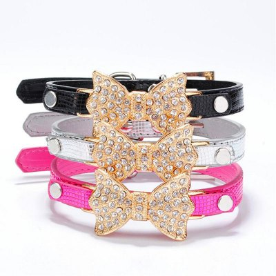 Bling Rhinestone PU Leather Pet Cat And Dog Collar