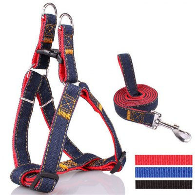 Jean Leash Harness Chain Rope Belt Adjustable Cat Dog Collar