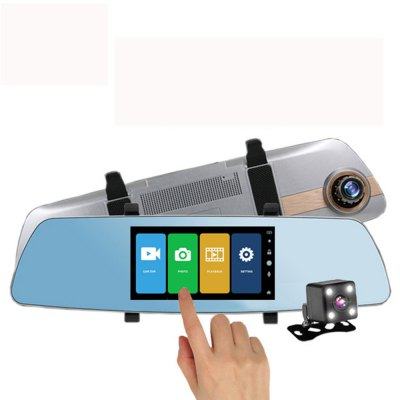 Touch Screen Car DVR Camera Super Night Vision Review Mirror Dvr Detector Video Recorder 1080P Car Dvrs