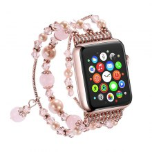 Handmade Elastic Faux Pearl Beaded Watch Band for Apple Watch 38mm Series 3 2 1