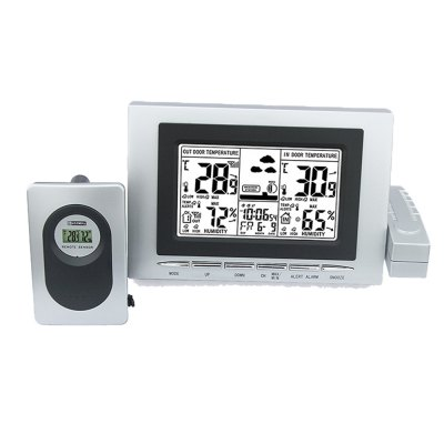 Noctilucent Wireless Multi-function Weather Electronic Internal and External Temperature and Humidity Alarm Clock
