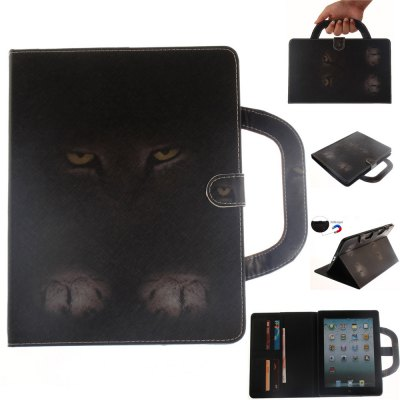 Mystery Cat Leather Wallet Cover Design with Stand and Portable Card Slots Magnetic Closure Case for iPad 2/3/4