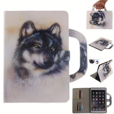 White Wolf Leather Wallet Cover Design with Stand and Portable Card Slots Magnetic Closure Case for iPad 6 Air 2