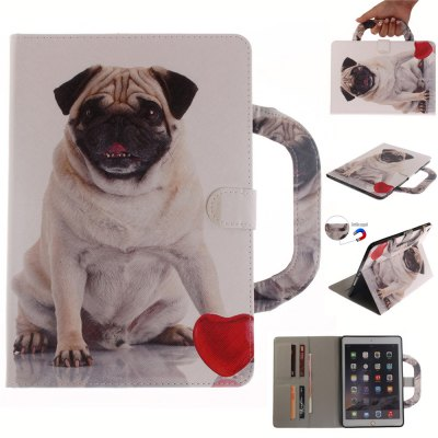 Pug Leather Wallet Cover Design with Stand and Portable Card Slots Magnetic Closure Case for iPad 6 Air 2