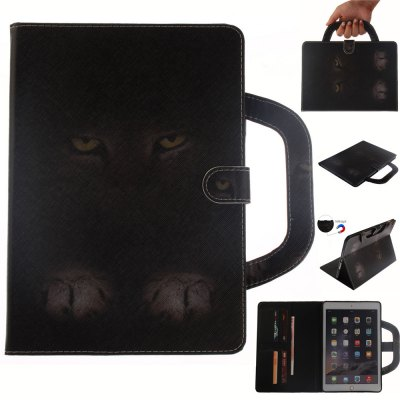 Mystery Cat Leather Wallet Cover Design with Stand and Portable Card Slots Magnetic Closure Case for iPad 6 Air 2
