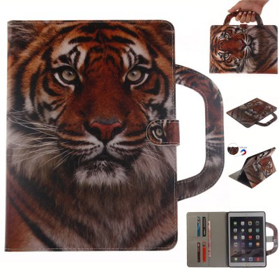 Tiger Leather Wallet Cover Design with Stand and Portable Card Slots Magnetic Closure Case for iPad Mini 4