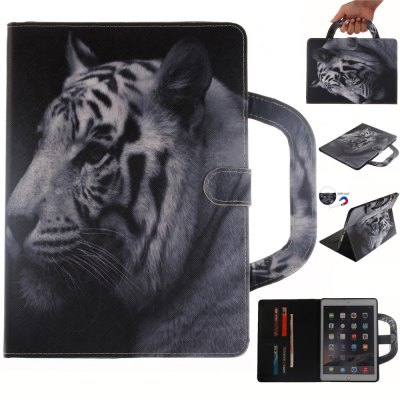 White Tiger Leather Wallet Cover Design with Stand and Portable Card Slots Magnetic Closure Case for iPad Mini 4