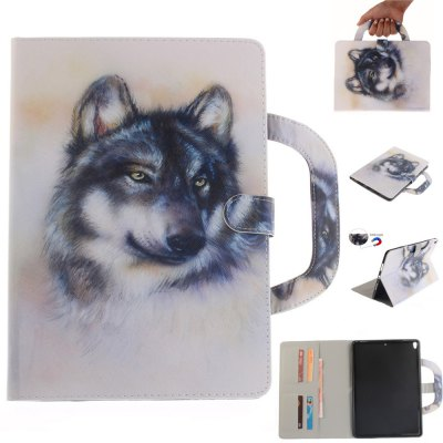 white Wolf Leather Wallet Cover Design with Stand and Portable Card Slots Magnetic Closure Case for iPad Pro 10.5