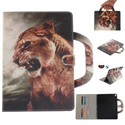 Lion Design Leather Wallet Cover Design with Stand and Portable Card Slots Magnetic Closure Case for iPad Pro 10.5