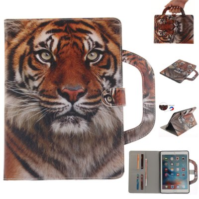 Tiger Leather Wallet Cover Design with Stand and Portable Card Slots Magnetic Closure Case for iPad Pro 9.7