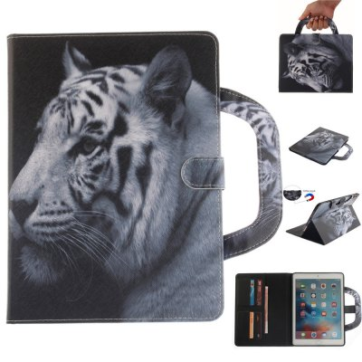 White Tiger Leather Wallet Cover Design with Stand and Portable Card Slots Magnetic Closure Case for Apple IPad Pro 9.7