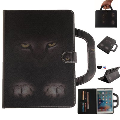 Mystery Cat Leather Wallet Cover Design with Stand and Portable Card Slots Magnetic Closure Case for Apple IPad Pro 9.7