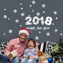 YEDUO 2018 Happy New Year Christmas Snowflake Wall Sticker
