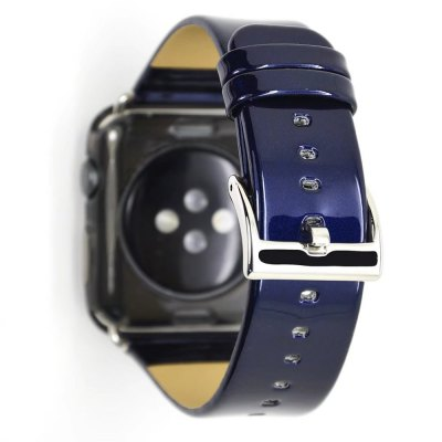 42mm Metallic Paint Bright Skin Genuine Leather Strap for iWatch Series 3 / 2 / 1