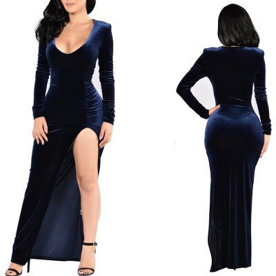 European and American Velvet Christmas Dress Party Evening Dress