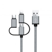 Manufacturer Multi-Function Nylon Braided Type-C + Micro USB + 8 Pin 3 in 1 Usb Data Cable for iPhone Andriod