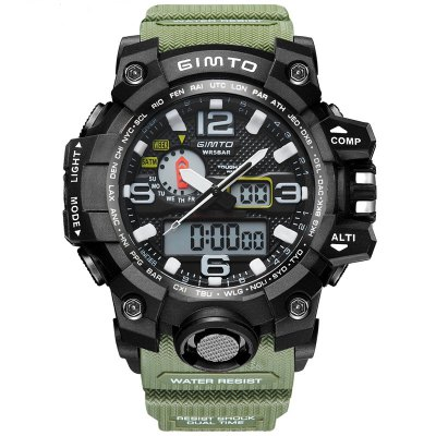 GIMTO Brand LED Sport Watch Men Waterproof Stopwatch Black Mens Military Clock Shock Diving Digital Watches Relogio Masc