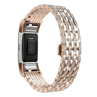 Crystal Rhinestone Diamond Watch Band Stainless Steel Wrist Strap for for Fitbit Charge 2