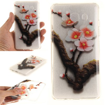 The Four Plum Flower Soft Clear IMD TPU Phone Casing Mobile Smartphone Cover Shell Case for Samsung J510 2016