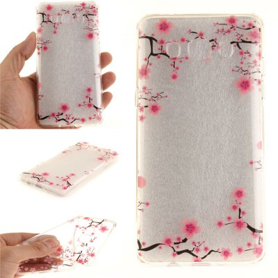 Up and Down The Plum Blossom Soft Clear IMD TPU Phone Casing Mobile Smartphone Cover Shell Case for Samsung J510 2016