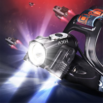 HKV T6 6000K 4 Mode LED Rechargeable HeadLamp Waterproof 180 Degree Rotatable HeadLight Torch