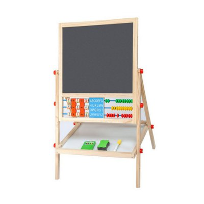 Children Solid Wood Drawing Frame Double-Sided Magnetic Blackboard Scaffolding Adjustable Lift