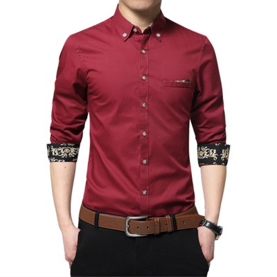 Men'S Large Size Cotton Long Sleeved Shirts