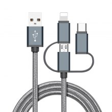 High Speed Nylon Braided Fast Charging 3 in 1 USB Charger Cable for iPhone Android Type C Mobile Phones