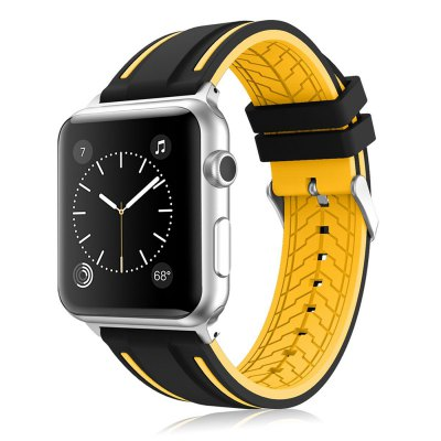 LEEHUR Soft Silicone Band Sport Style Replacement Wrist Strap Bracelet for Apple Watch Series 3/2/1 38mm