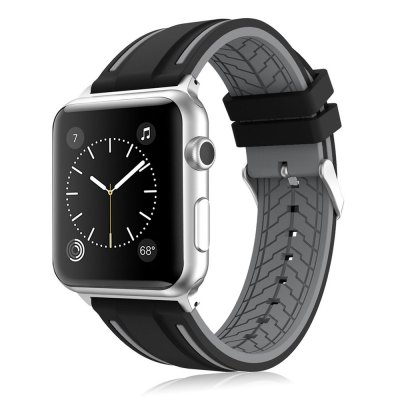 LEEHUR Soft Silicone Band Sport Style Replacement Wrist Strap Bracelet for Apple Watch Series 3/2/1 42mm