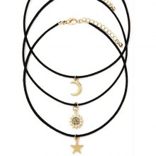 3PCS Fashionable Multi-Moon Star - Star Alloy Necklace