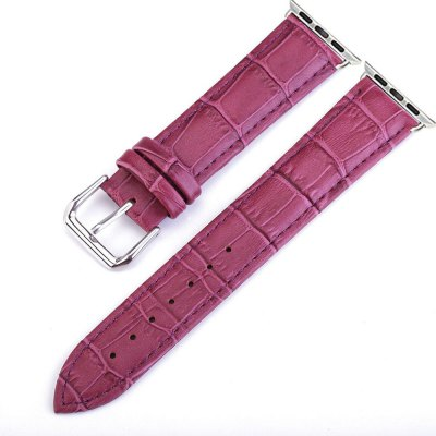 Crocodile Pattern Genuine Leather Strap for 38mm iWatch Series 3/2/1 Stainless Steel Clasp and Solid Connector