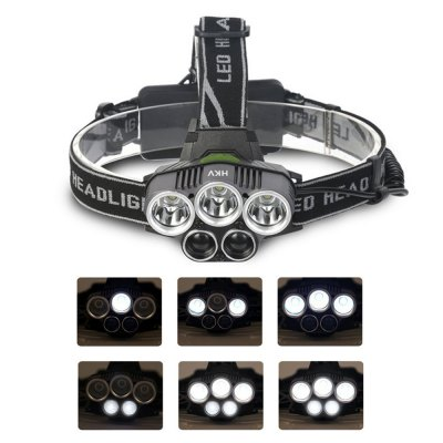 HKV XML-T6 5 Modes LED Head Lamp Camp Hike Emergency Light Fishing Outdoor USB Rechargeable