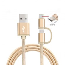 2 in 1 Usb Charger Cable with Micro Type-C Cabel Braided Wire for Smart Phone